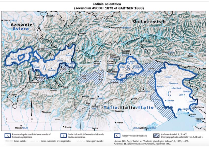 cartina delle tre zone dove si parla una lingua retoromanza