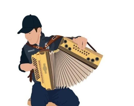 Caricatura di Simon Rabanser con fisarmonica